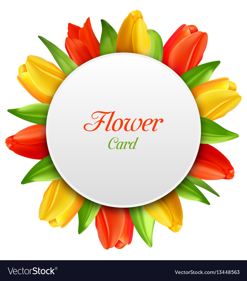 Spring invitation with tulips flowers postcard