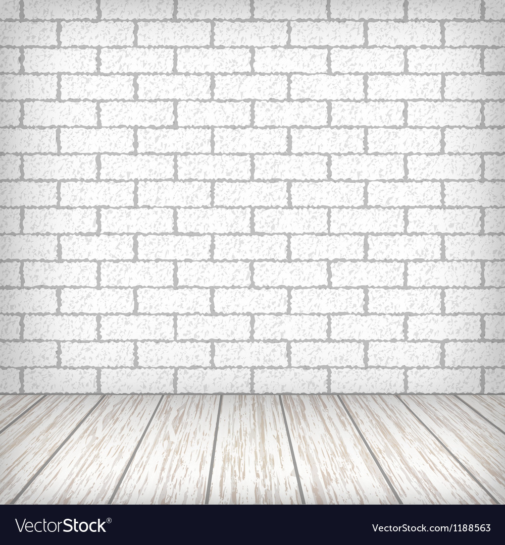 White Brick Wall With Wooden Floor Royalty Free Vector Image