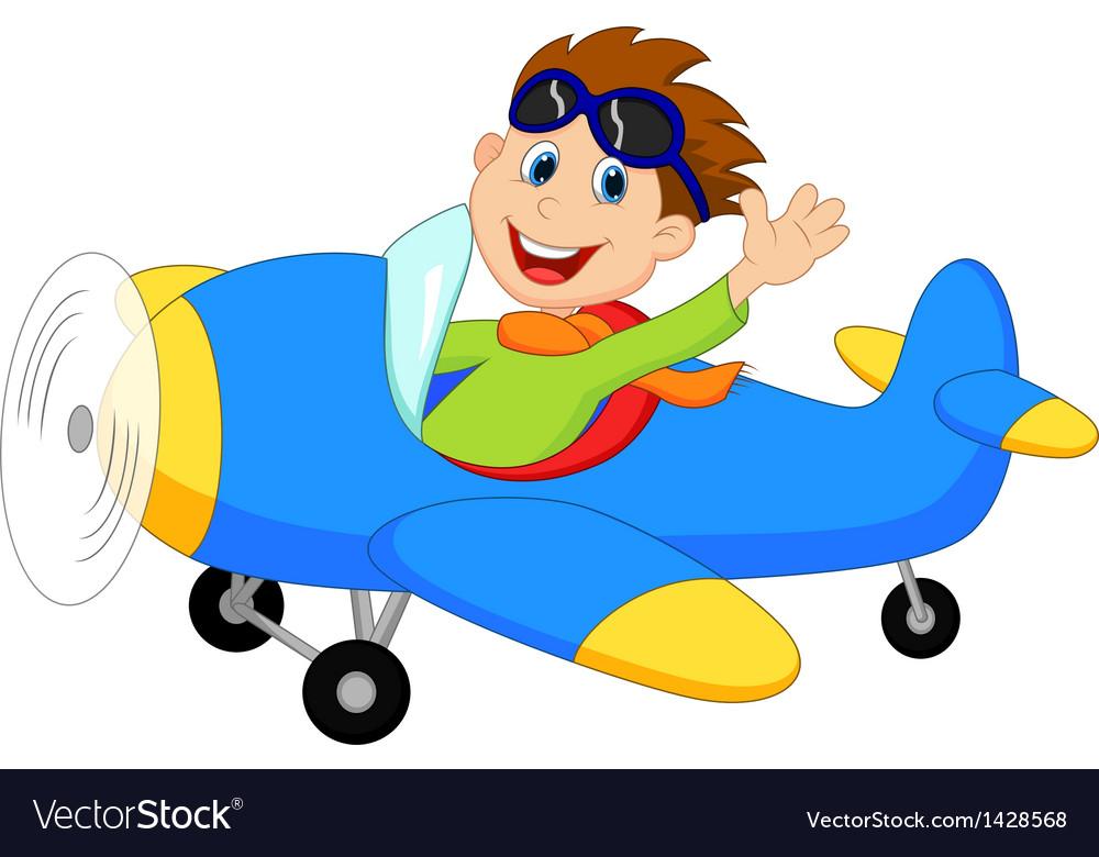 Cartoon Little Boy Operating a Plane vector image