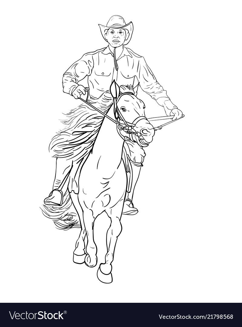 Drawing Black And White Cowboy Riding Horse Vector Image