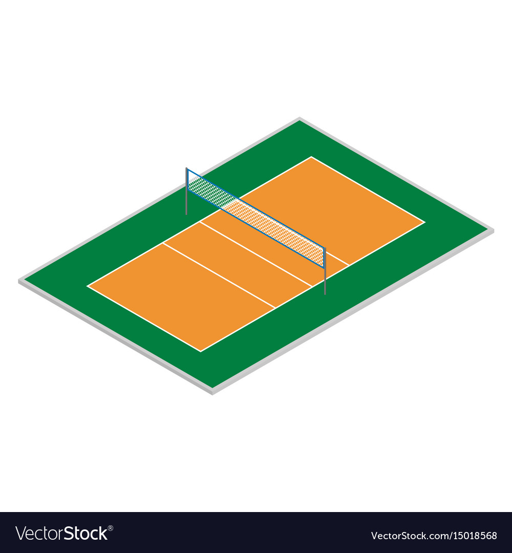 Field for playing volleyball in isometric