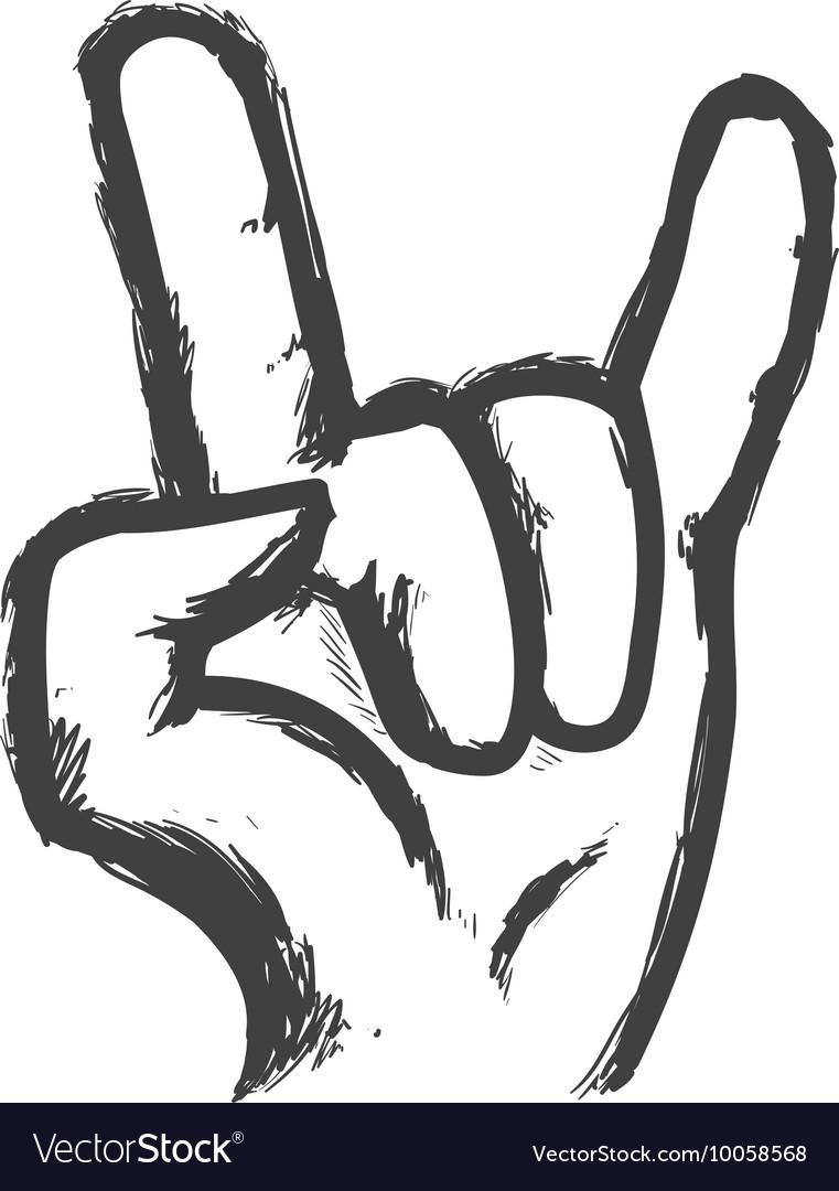 Hand gesture icon Rock music design
