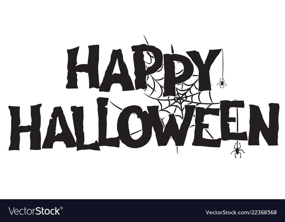 Happy halloween handwritten text and spiderweb