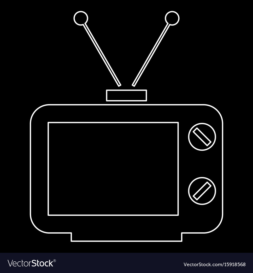 Old tv white color path icon