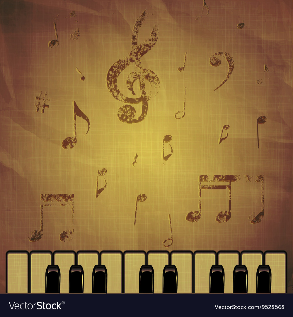 Piano on paper background with music notes