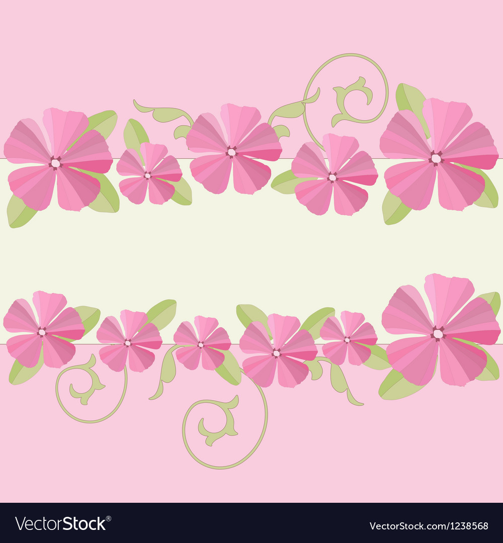 Pink Flowers Ornate Frame Background Royalty Free Vector