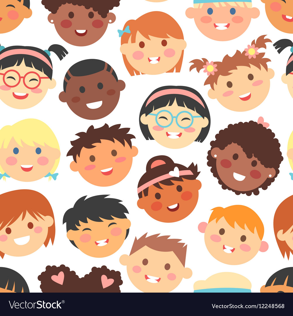 Seamless pattern of kids faces different