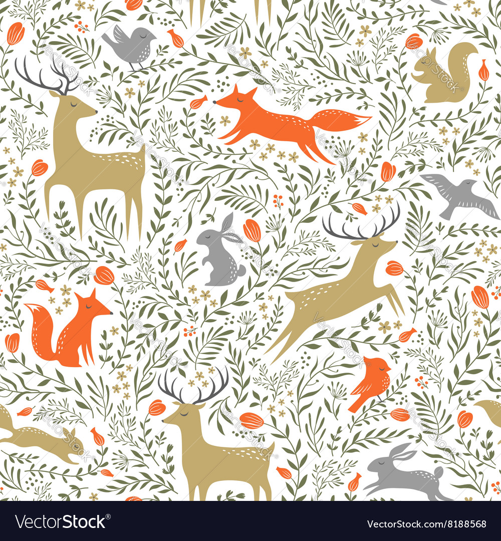 Summer woodland pattern vector image