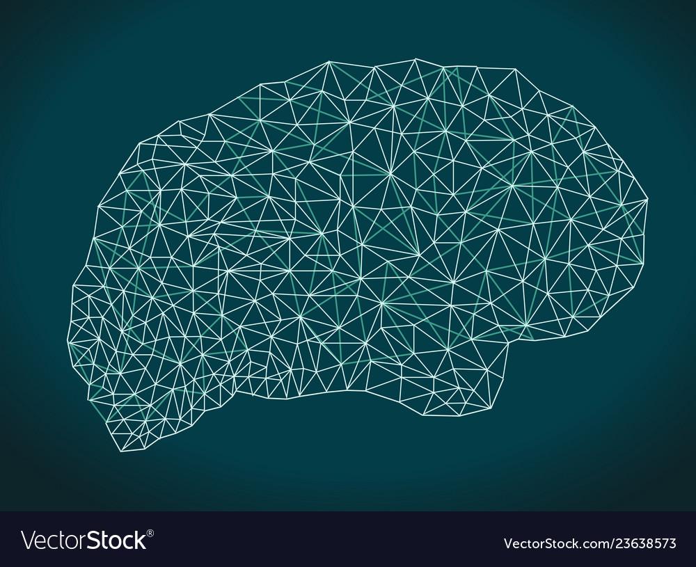 Brain shape business network polygons mesh