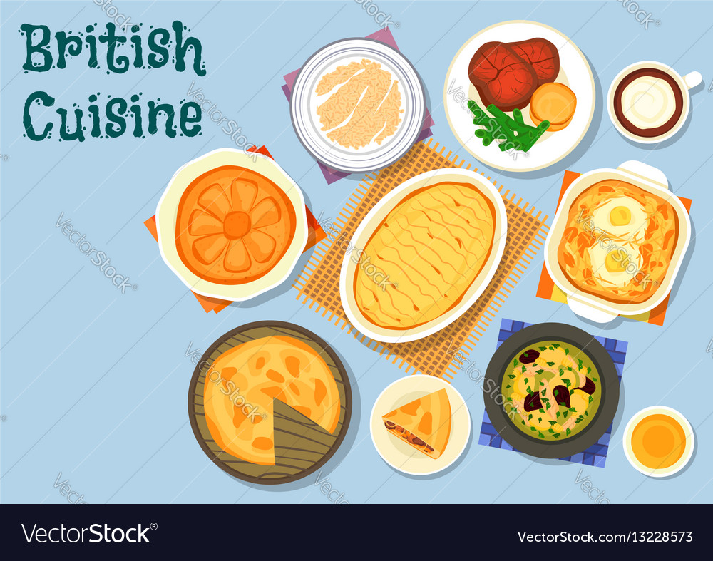 British cuisine lunch menu icon for food design vector image forumfinder Image collections