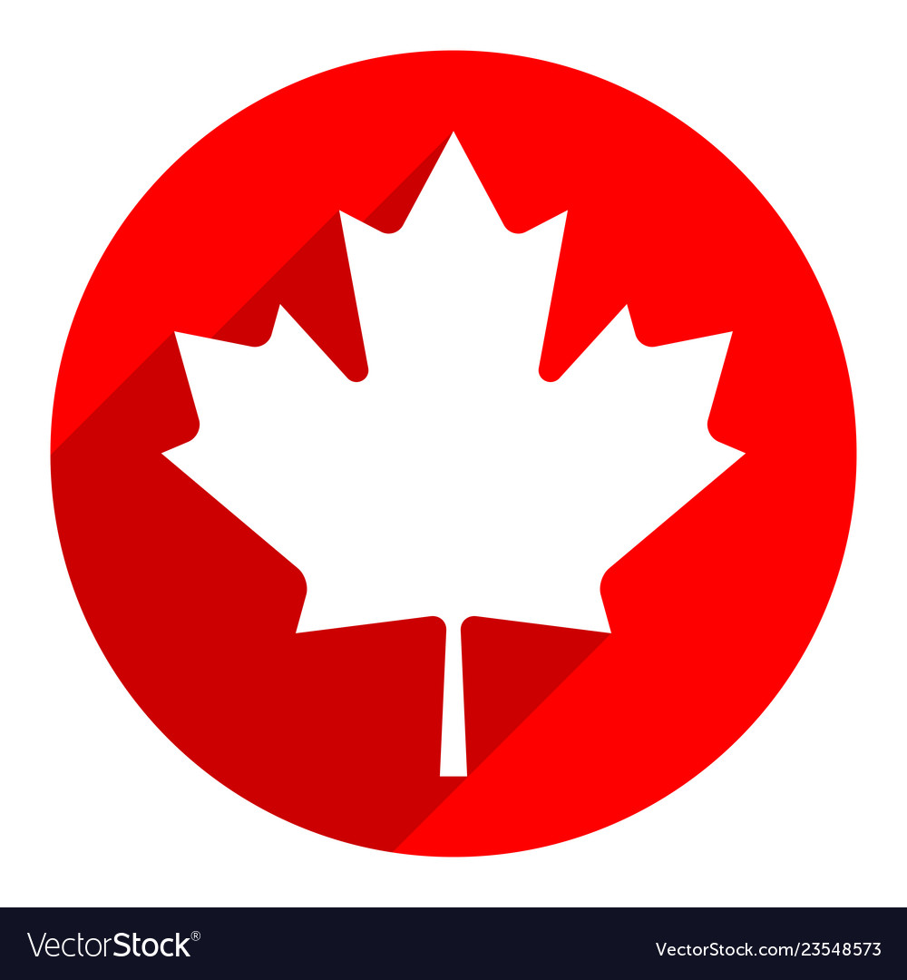 Canadian Maple Leaf On Circle Shape In Flat Style