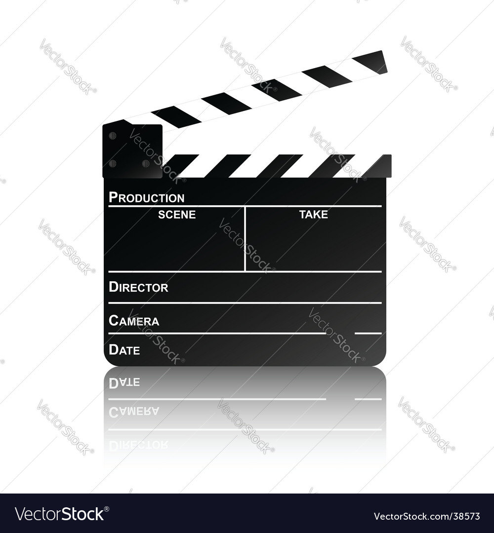 Clapper board with reflection vector image