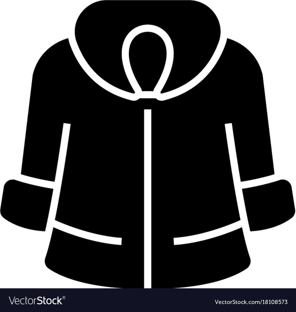 Fur coat icon black sign on