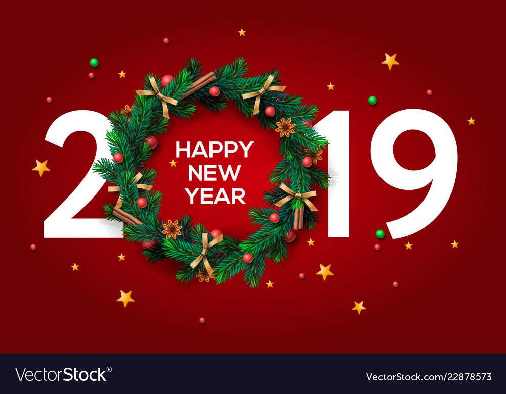 Happy new year 2019 text design greeting with and