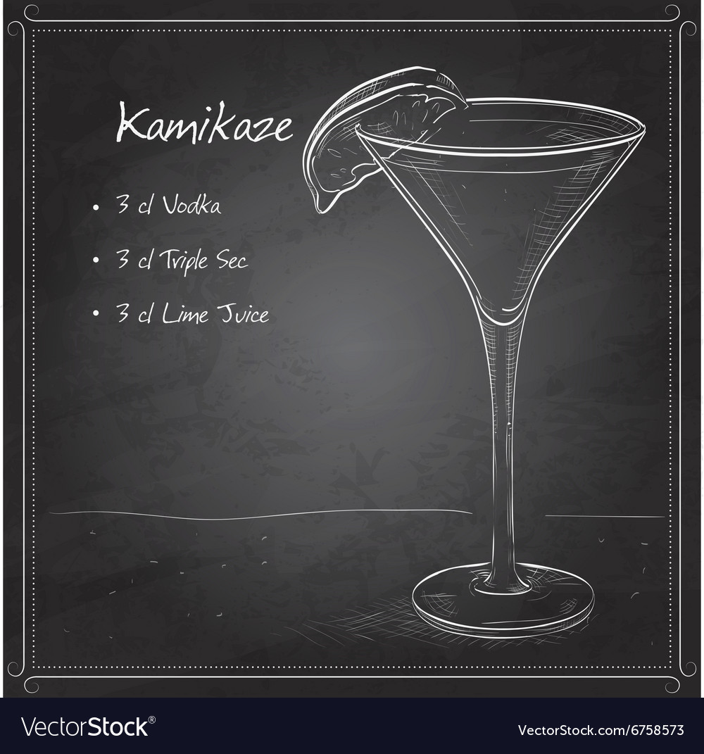 Kamikaze alcohol cocktail on black board vector image