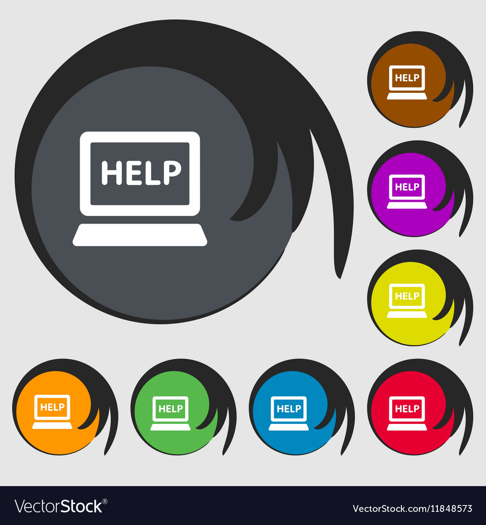 Laptop Tech Service Icon Sign Symbols On Eight Vector Image