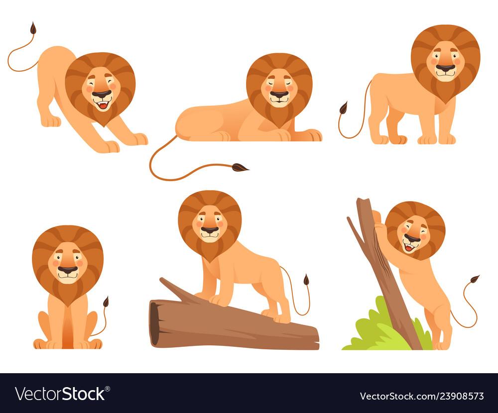 Lion cartoon wild jungle animal pride happy