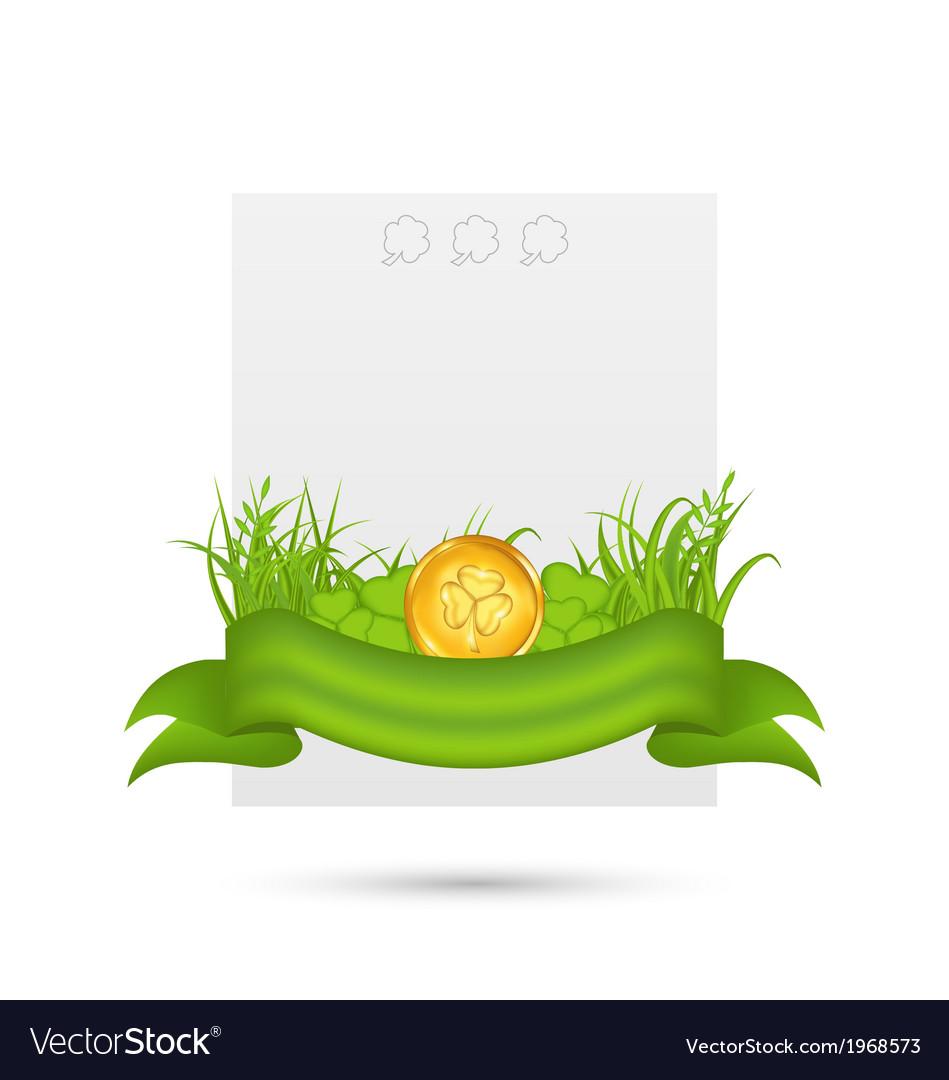 Natural card with coin shamrocks grass ribbon