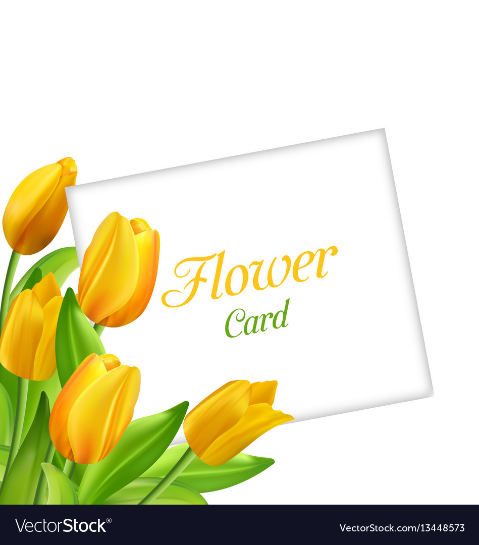 Nature flower card with tulips invitation for