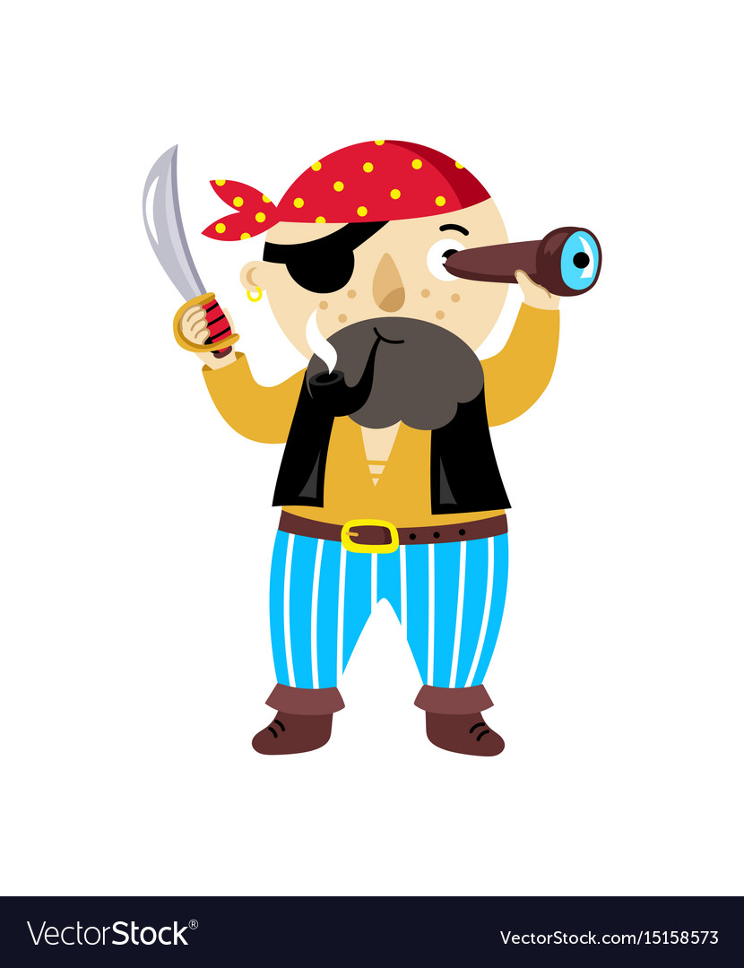 Pirate character with sword icon vector image