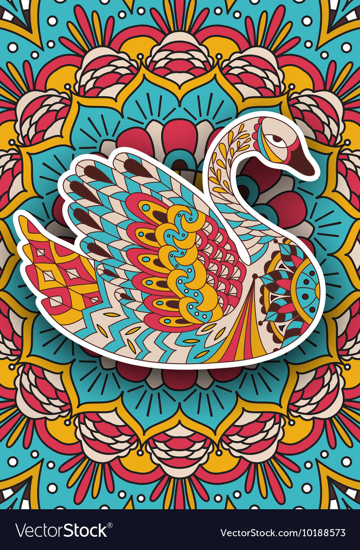 Printable coloring book page for adults - swan