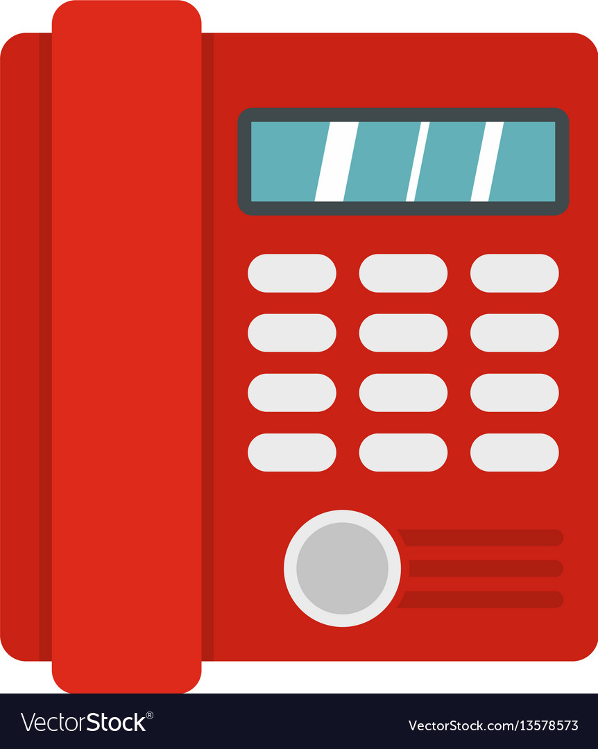Red classic business office phone icon flat style