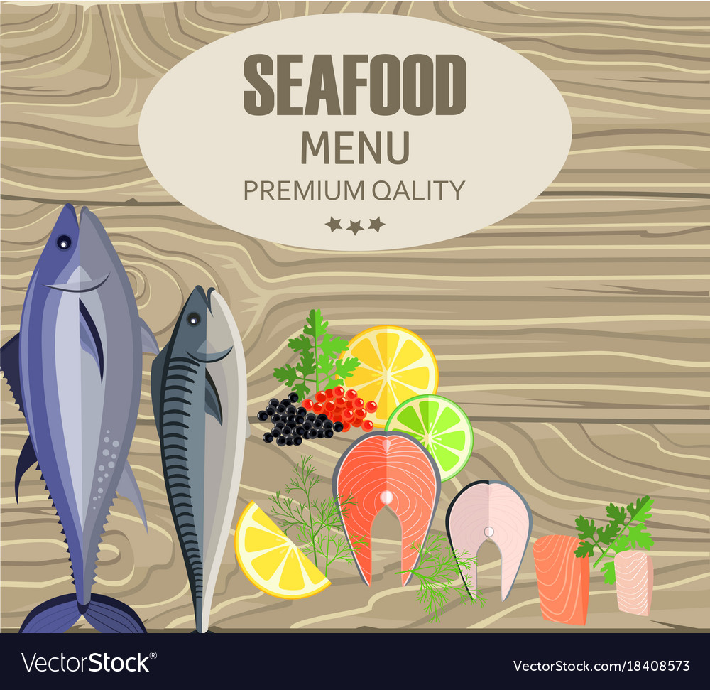 Seafood restaurant menu with fish on cutting board