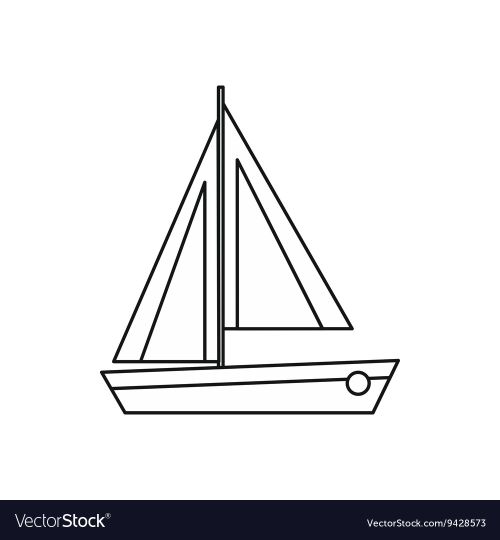 Small boat icon outline style vector image