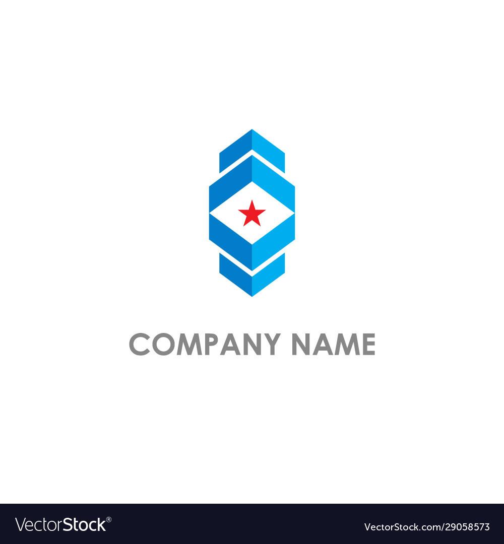 Square abstract shape star company logo