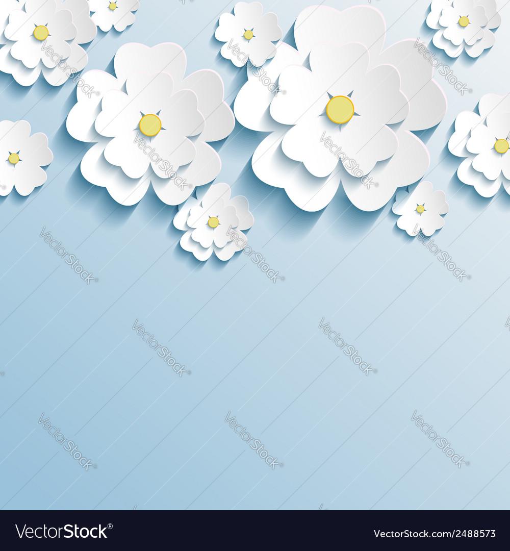 Stylish Wallpaper With 3d Flowers Sakura Blossom
