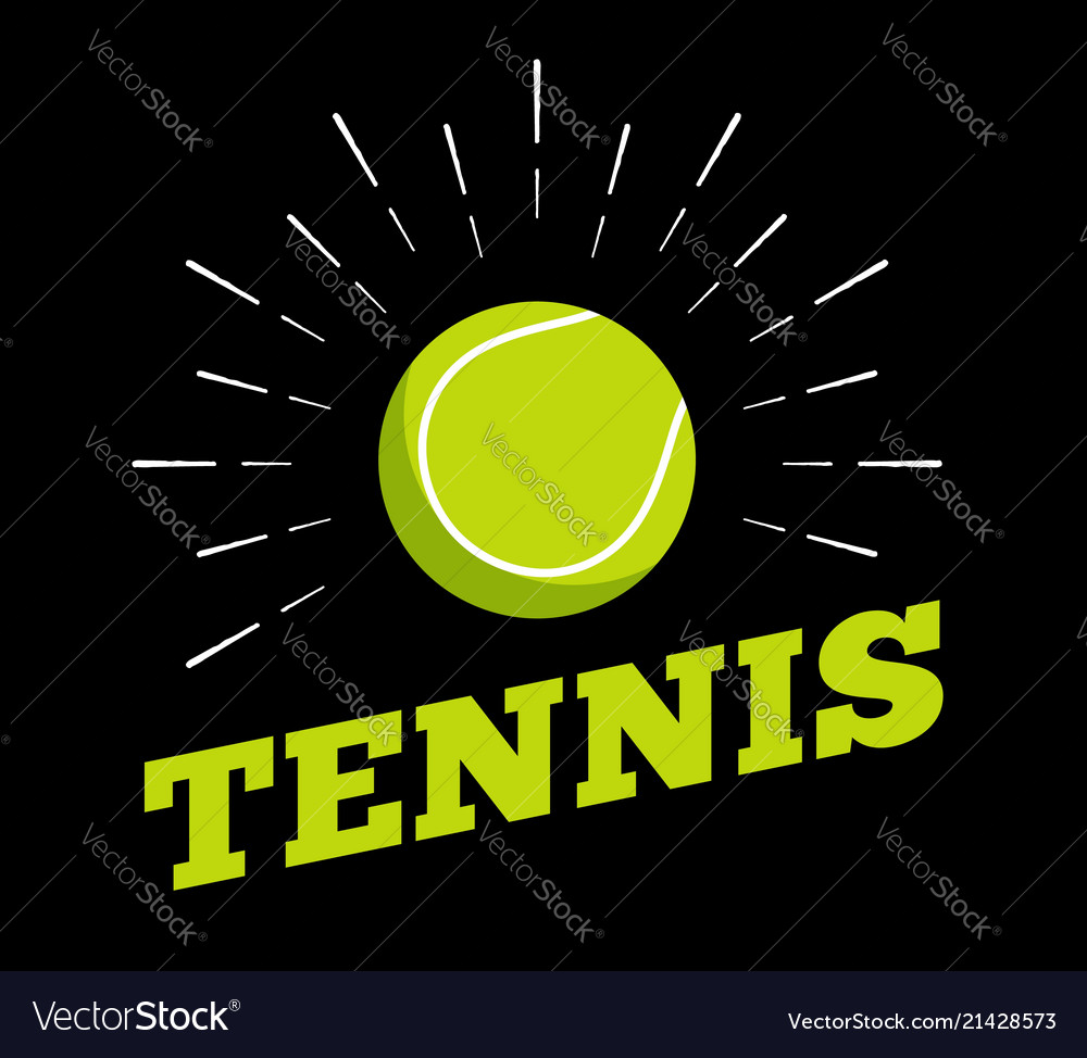 Tennis sport ball logo icon sun burtst print hand