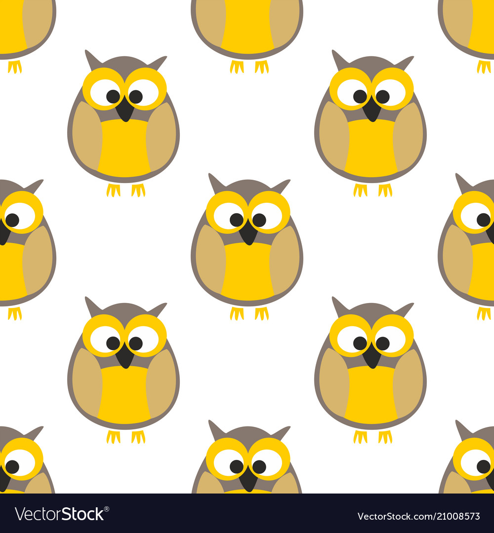 Tile pattern with yellow owls on white background