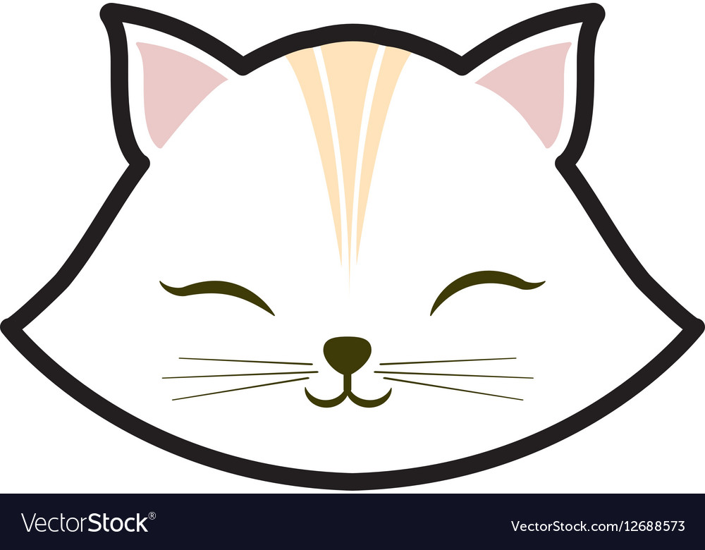 White cat kitty closed eyes animal cute