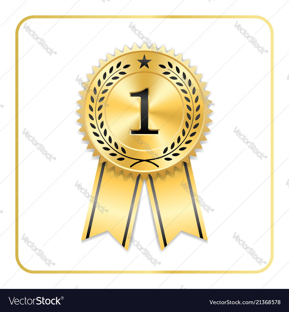 award ribbon gold icon blank medal isolated on vector image
