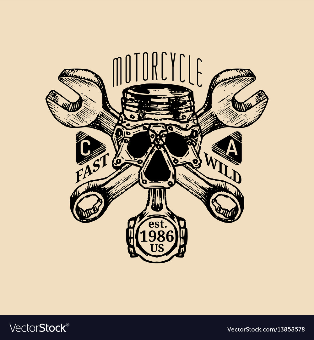 Biker piston-scull with wrenches logo vector image