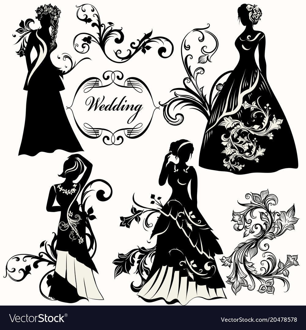 Collection Of Wedding Design Elements Royalty Free Vector