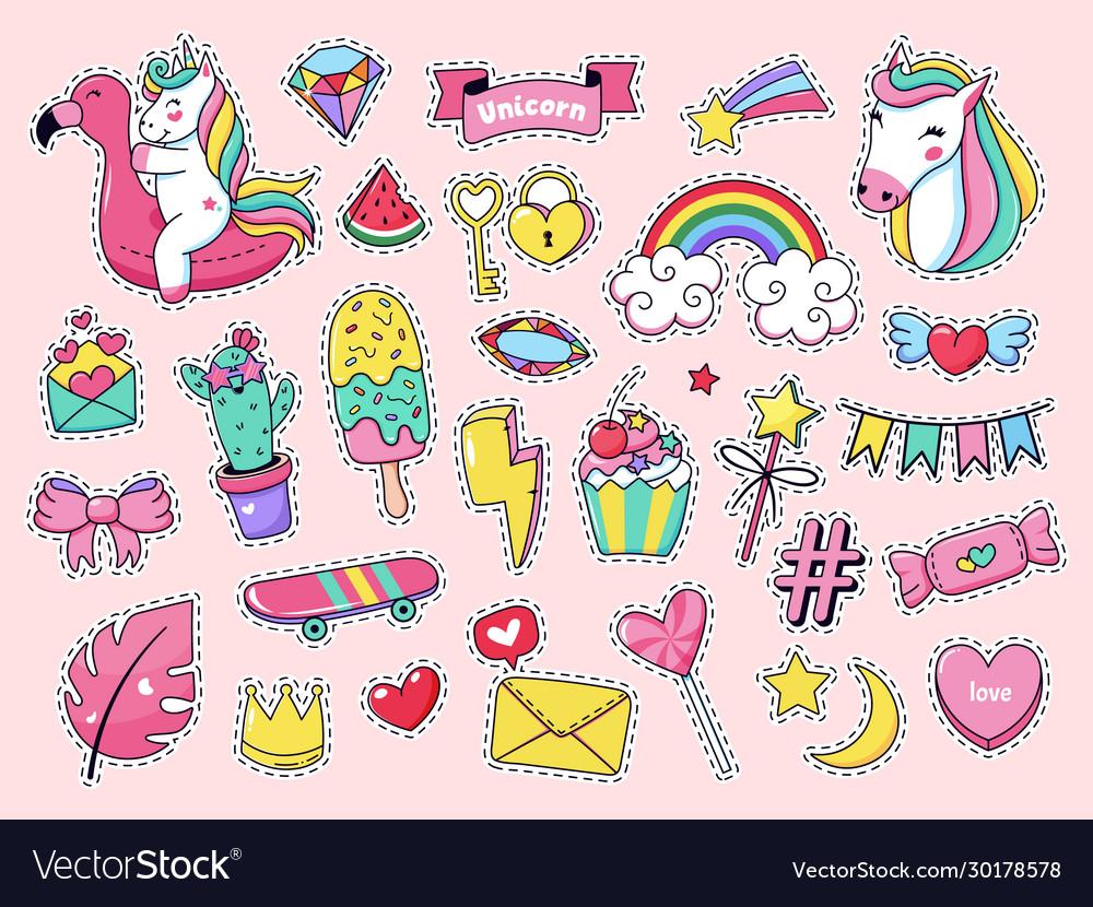 Cute patch badges magic fashion doodle patches