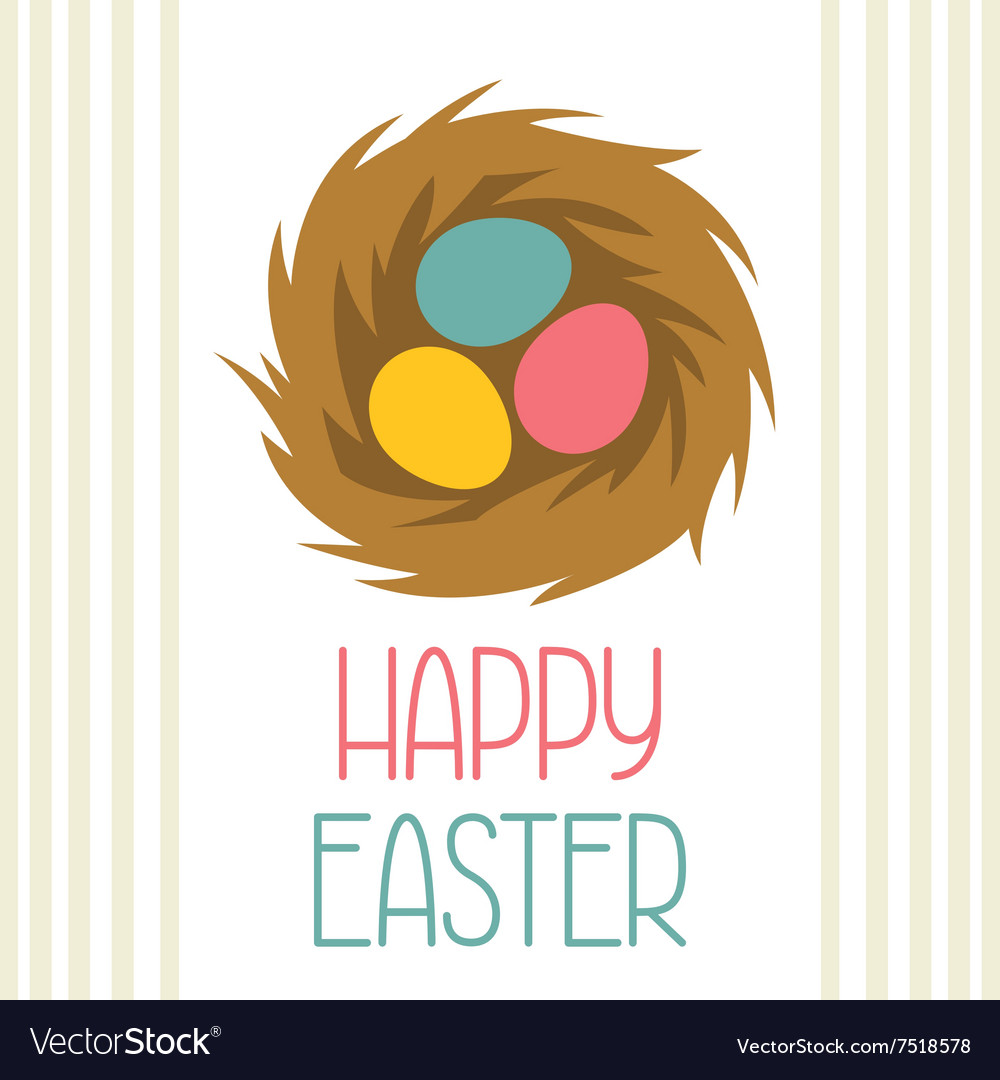 Happy easter greeting card with decorative nest