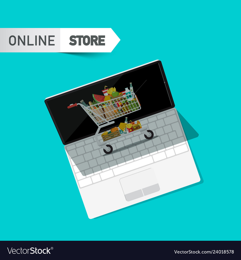 Online store symbol with shopping cart and