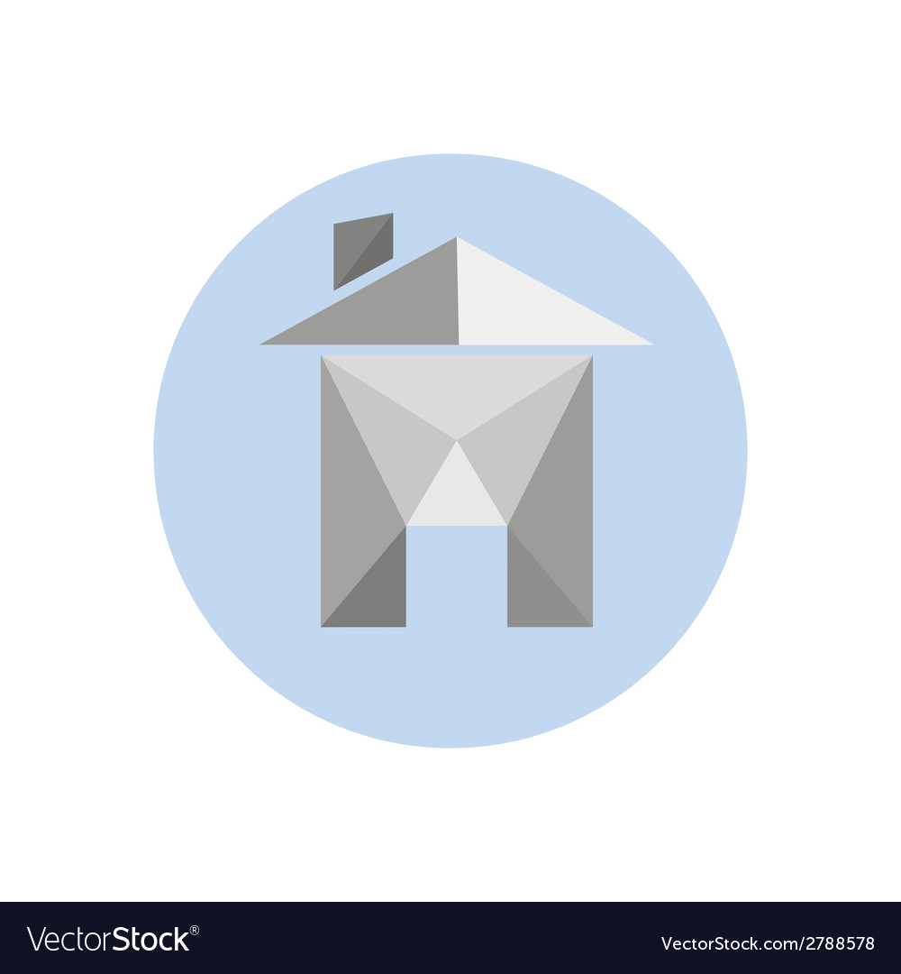 Origami Paper House Isolated On White Background Vector Image