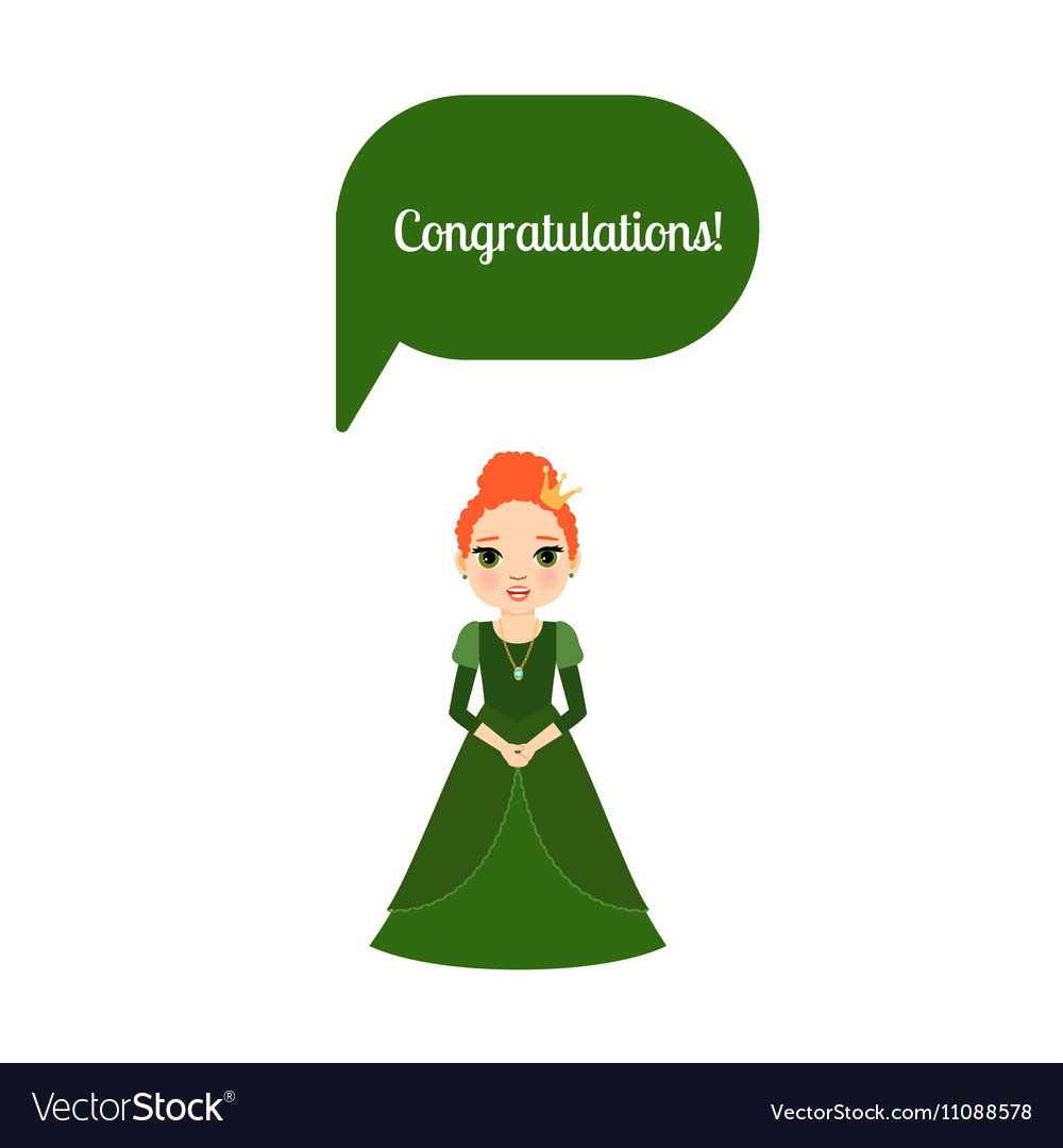 Princess with speech bubble Congratulations vector image