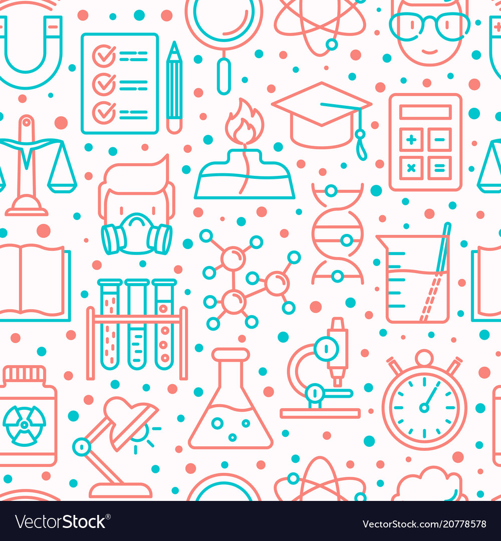 Science and laboratory seamless pattern