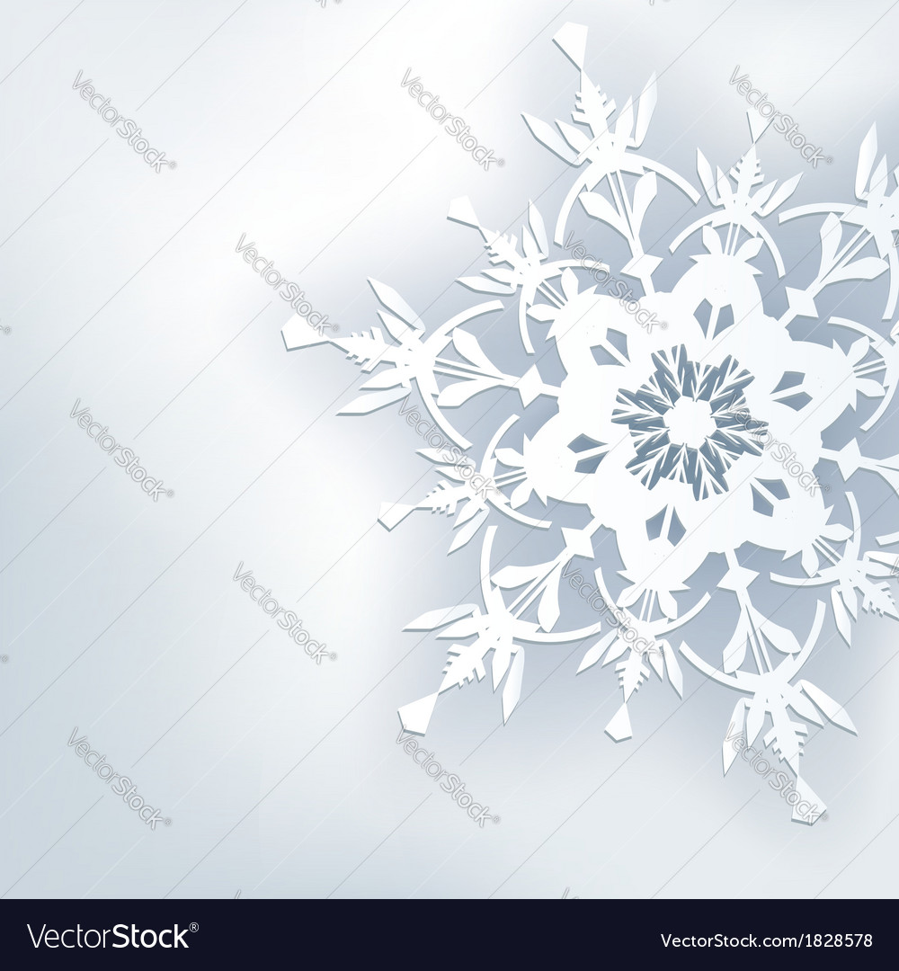 Stylish abstract background 3d ornate snowflake vector image