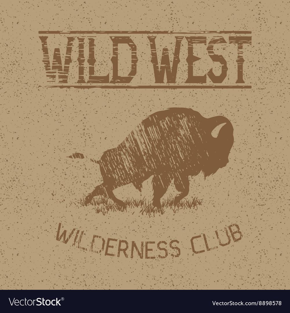 Western vintage label with bison vector image