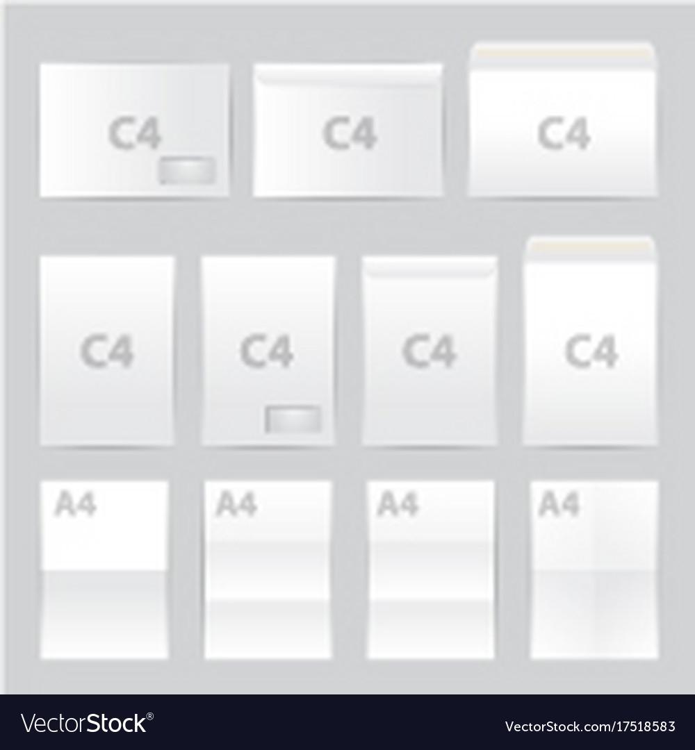 Blank paper envelopes set a4 c4 format