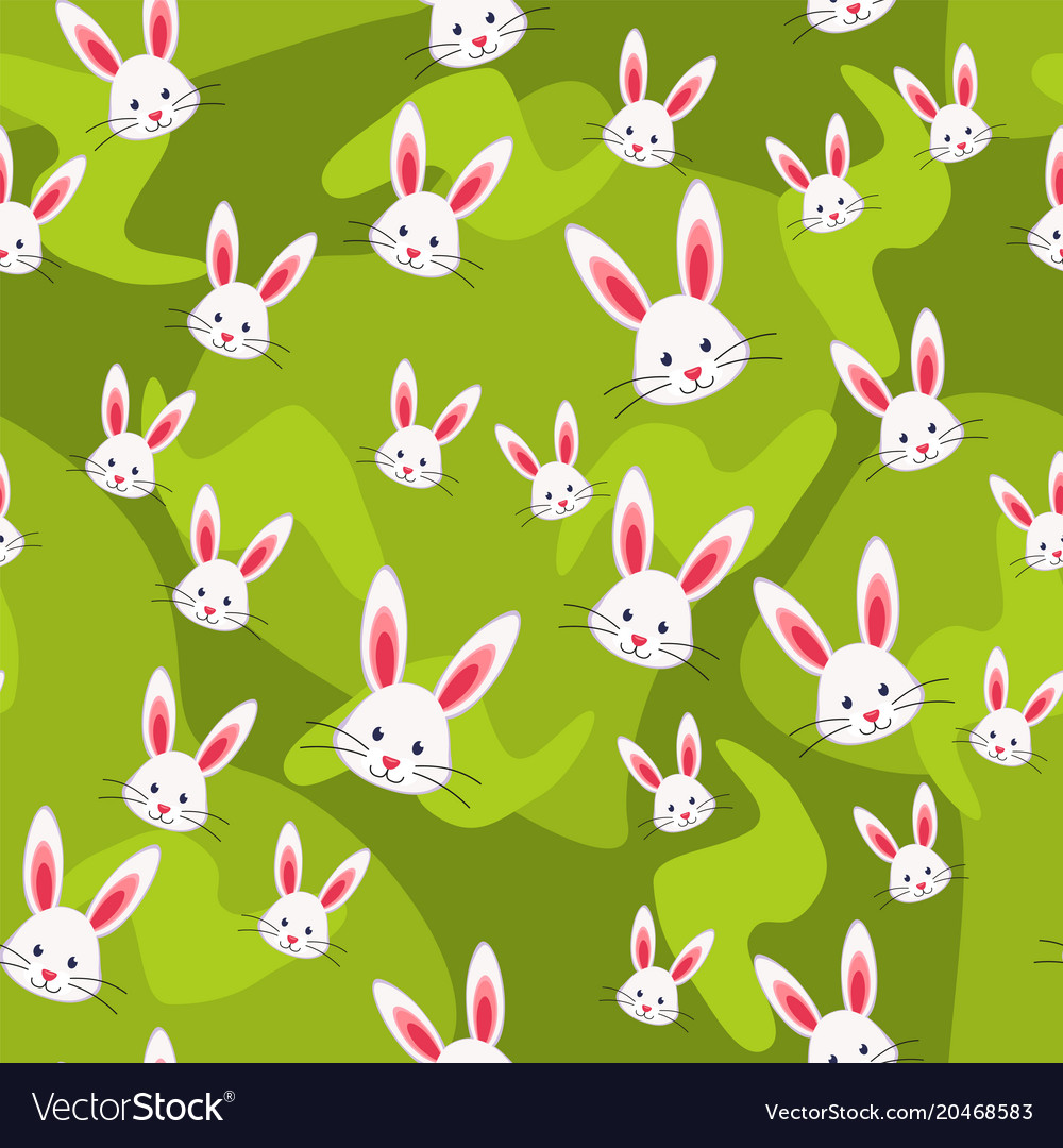 Colorful seamless pattern rabbit grass background
