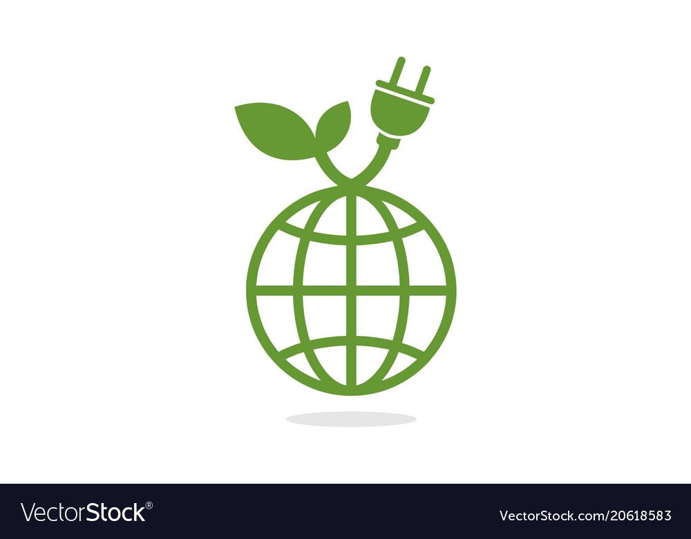 Global green power electric logo vector image