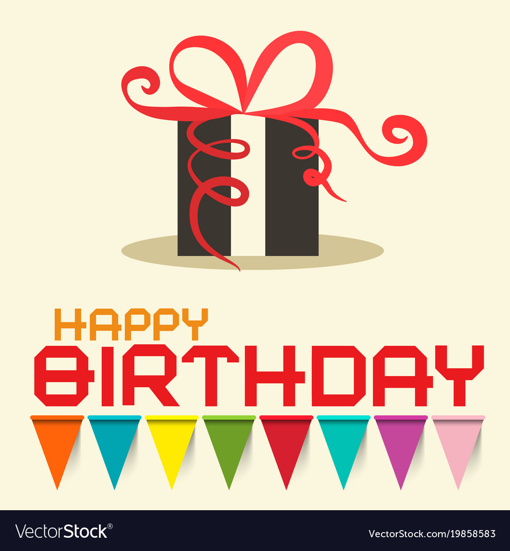 Happy birthday card with gift box design vector image