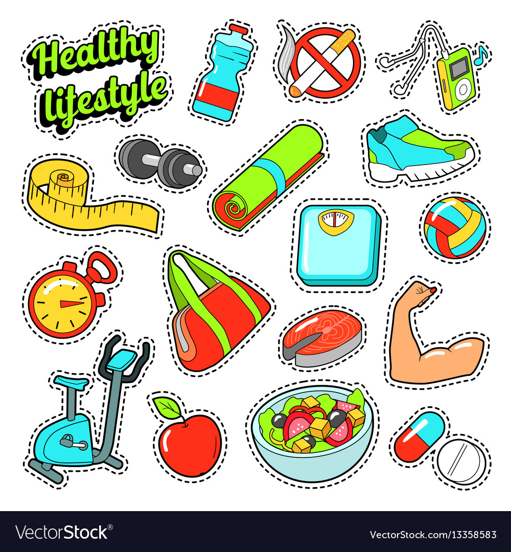 Healthy lifestyle set with food and sports