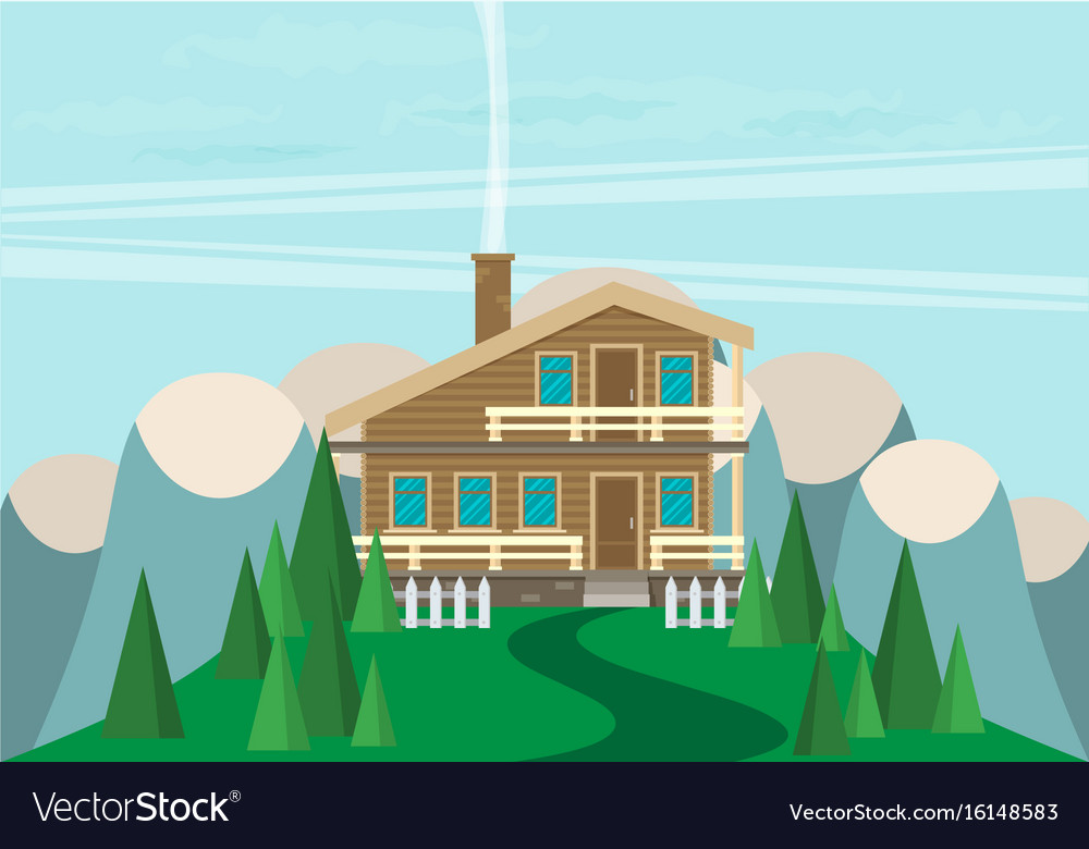House flat style mountains and trees